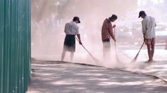 Cleaning  streets in Burma. Stock Footage