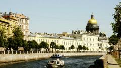 Isaac's Cathedral and Moyka river, St. Petersburg, Russia Stock Footage