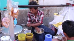 Cooking in unsanitary conditions in Yangon. Stock Footage