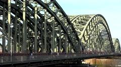 ULTRA HD 4K Timelapse traffic Hohenzollern bridge famous landmark Koln transport Stock Footage