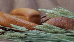 Assorted Bread with wheat cones in sackcloth. Stock Footage
