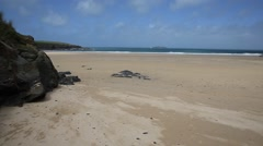 Harlyn Bay North Cornwall England UK near Padstow and Newquay PAN Stock Footage