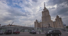 RUSSIA. MOSCOW - 2013: TL The Radisson Royal Hotel in sunny day Stock Footage