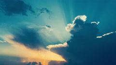 4K Colorful Sunray on Cloudy Sky - stock footage