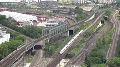 ULTRA HD 4K Timelapse train traffic Koln railway passenger travel commute arrive Stock Footage