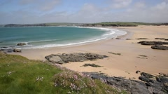 PAN of Harlyn Bay North Cornwall England UK near Padstow and Newquay Stock Footage