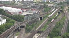 ULTRA HD 4K Aerial view public train transportation infrastructure Koln railway  Stock Footage