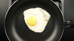 Fried eggs on the pan, Zooming Stock Footage