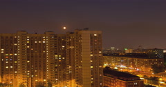 RUSSIA. MOSCOW - 2014: TL Night view on the residential house Stock Footage