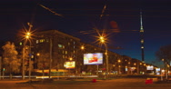 Stock Video Footage of RUSSIA. MOSCOW - 2013: TL Night view on the road Academica Koroleva