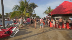 People waiting at the pool bars near the pool at Oasis, Cancun - stock footage
