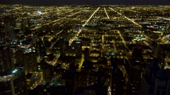 Aerial view of Westward Chicago night. Stock Footage