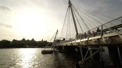Modern Golden Jubilee Bridge London Stock Footage