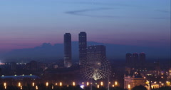 RUSSIA. MOSCOW - 2014: TL View of the sunrise through the Tricolour Towers Stock Footage