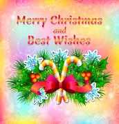 Christmas and Best Wishes - stock illustration