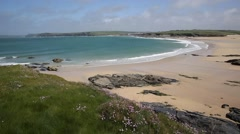Harlyn Bay North Cornwall England UK near Padstow and Newquay Stock Footage