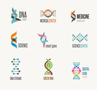 DNA, genetic elements and icons collection - stock illustration
