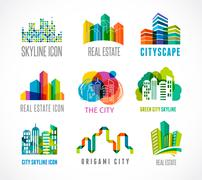 Stock Illustration of Colorful real estate, city and skyline icons