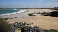 Harlyn Bay beach and waves North Cornwall UK near Padstow Stock Footage