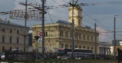 RUSSIA, MOSCOW, TL, 4K, Day view of the Leningradsky railway station Stock Footage
