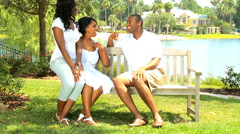 US African American happy family parents girl outdoor happy lifestyle - stock footage