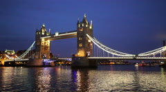Wonderful Tower Bridge in the evening - stock footage