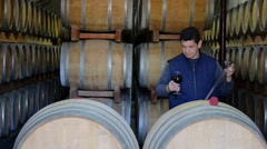 Winemaker Making Wine Test in Winery Cellar Stock Footage