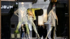 Mannequin with woman clothes in fashionable store showcase in Vienna Austria  Stock Footage