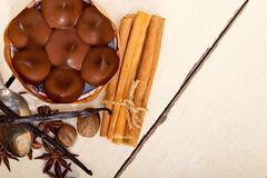 Chocolate vanilla and spices cream cake dessert Stock Photos