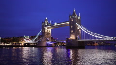 Tower Bridge London at blue hour Stock Footage