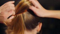 Girl Gathers Her Hair In A Ponytail Stock Footage