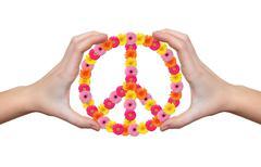 Peace flower symbol in hands  Kuvituskuvat