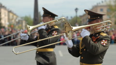 Military Orchestra On Military Parade, Victory Day, Russia Stock Footage