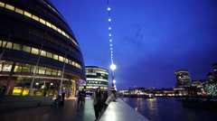 Amazing view on London City Hall at blue hour - stock footage
