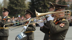 Military Orchestra On Military Parade, Victory Day, Russia - stock footage