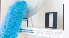 Work with blue duster Stock Footage