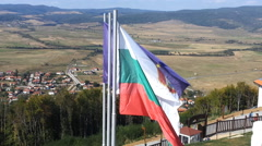 The Fluttered Flags Of Tzari Mali Grad, Bulgaria Stock Footage