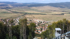View from Tzari Mali Grad historical site down to the valley and Belchin village Stock Footage