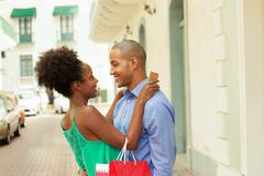 African American Couple Shopping With Credit Card In Panama - stock photo