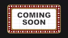 "Marquee with flashing lights ""Coming Soon"" - stock footage"