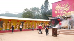 Main shrine and the courtyard of the Ten Thousand Buddhas Monastery Stock Footage