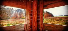 Interior of hunting tower in autumn season. - stock photo