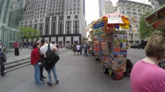 Stock Video Footage of The famous street food in 5th Avenue in New York