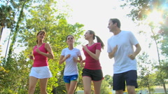 sport recreation jogging lifestyle Caucasian family together outdoors fitness - stock footage