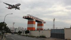 Aircraft Passenger airplane on landing. Brazilian airport, Congonhas, Sao Paulo. - stock footage