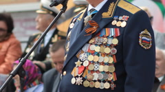 Russian Officer With Military Medals, Victory Day, Russia Stock Footage