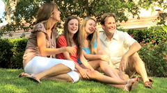 Western Caucasian family parents teenage daughters recreation outdoor home Stock Footage