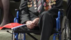 Veteran Of World War II In A Wheelchair, Military Medals, Victory Day, Russia Stock Footage