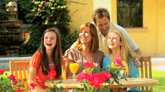 lifestyle recreation Caucasian male female family parents teenage girls outdoors - stock footage