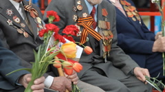 Veterans Of World War II With Flowers, Military Medals, Victory Day, Russia Stock Footage